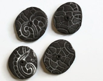 Large Earth Slices, Textured Ceramic Discs, African Beads, Organic, Earthy Ceramic Beads, 4 pcs,black clay discs