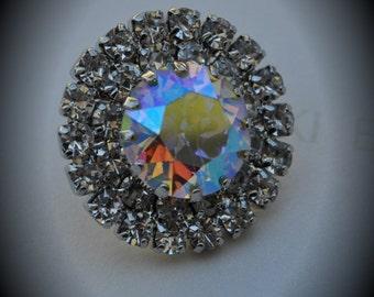Unique Genuine SWAROVSKI Crystal Clear AB Silver Plated Button