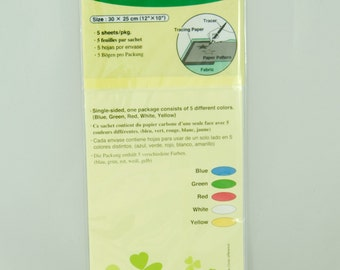Tracing Paper by Clover Size 30 x 25cm  - Single Sided Pack of 5 Sheets - of different Colours Blue, Green, Red, White, Yellow