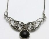 Vintage 925 Sterling Silver Black Onyx Filigree Necklace Oxidized Estate
