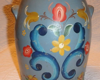 Hand Painted Stoneware Crock