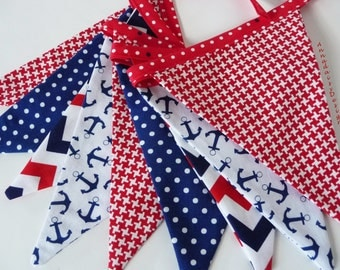 Nautical Bunting Banner, Red, White, & Blue Fabric Bunting, Photo Prop, Mantle Decor, Fabric Garland, Sailing Decor, Anchors