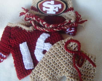Crocheted 49ers Hat, Short Pants & Football Jersey Set - These Are Made to Order