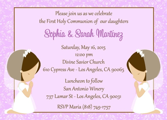 first communion invitation twins digital file girls first