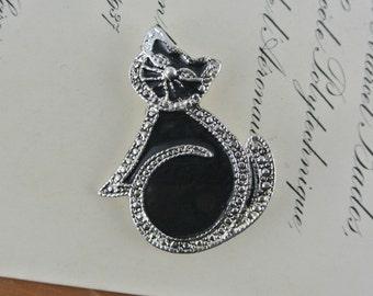 Vintage Black Kitty Cat Brooch Pin | Cute Silver Tone Brooch