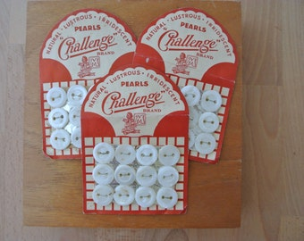 Lot of Vintage Gorgeous Challenge Brand Pearl Buttons on Card 32 Total 3 Cards