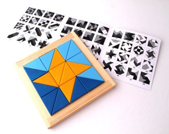 Montessori inspired wooden geometrical puzzle - developing triangle game