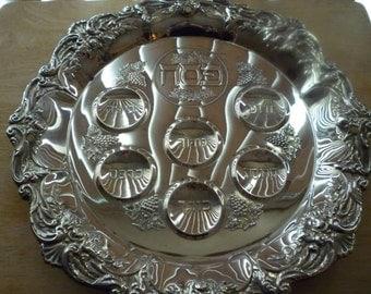 Judaica vintage silverplated Passover Seder Plate 14 inch diameter