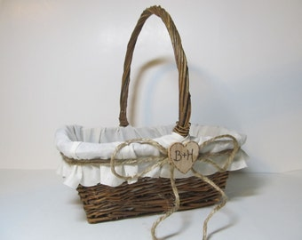 Ivory Muslin Rustic Flower Girl Basket - Personalized For Your Country Wedding