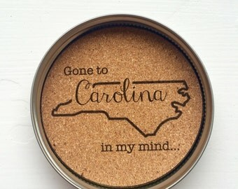 State Mason Jar Lid Coasters- North Carolina Set of Four