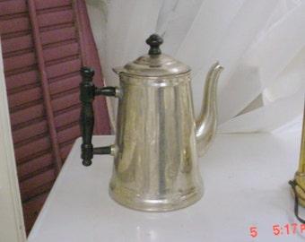 Vintage Coffeepot Stainless Cottage Farmhouse Prairie Chic