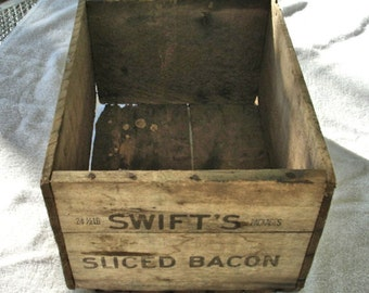 Vintage Wooded box Swift's Sliced Bacon wood box old crate primitive wood box