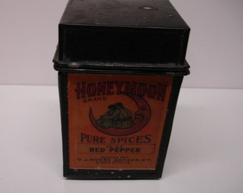 Vintage Pure Spice Tin Red Pepper-White Pepper- All Spice- Kitchen Spice tins collector tins