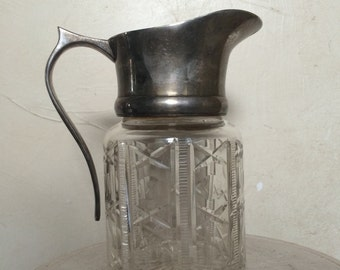 Cut Glass and Silver Creamer Pitcher