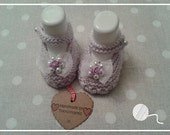 1 Pair Lilac Knitted Baby Shoes Wedding/Christening/Baptism and Gift Box - 3-6 months size only - Made by Tootsietastic - READY TO SHIP