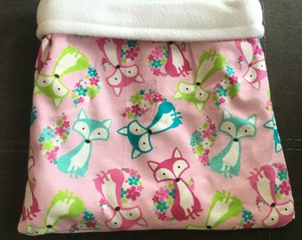 Floral Foxes Flannel and White Fleece Snuggle Bag