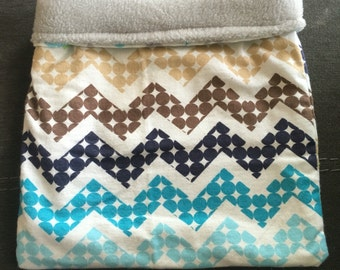 Boy Dot Chevron Flannel and Grey Fleece Snuggle Bag