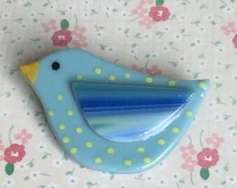 Little Bird fused glass brooch