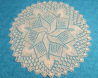 Vintage 15 inch Ecru Ivory Hand Crochet doily for housewares, home decor, pillows, christmas, holiday, bags by MarlenesAttic
