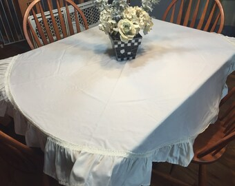 Vintage Round Ivory Ruffled Dining Luncheon Tablecloth by MarlenesAttic