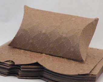 Pillow Box, Kraft Pillow Box, Embosses Pillow Box, Pillow Gift Box, Craft Gift Box, Pillow Boxes, Kraft Chipboard, 20 pc