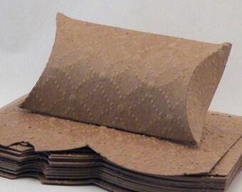 Pillow Box, Kraft Pillow Box, Embosses Pillow Box, Pillow Gift Box, Craft Gift Box, Pillow Boxes, Kraft Chipboard, 20 pc