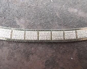 "Sterling Silver Necklace Modern Geometric Design Wide/ Herringbone Italy 17 1/2"""