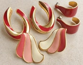 80s 90s vintage over sized red pink white enameled gold tone metal pierced earrings//waves and hoops--mixed lot of 3 pairs