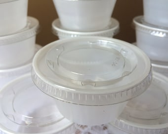 50 - 2 oz Plastic Portion / Souffle Cups, Jello Shot Cups, Translucent Cups with Clear Lids