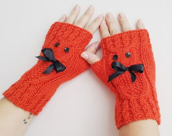 Owl and Bow  orange Fingerless Gloves Armwarmers Hand Knit Chic Winter Accessories Winter Fashion, CHRISTMAS GIFT