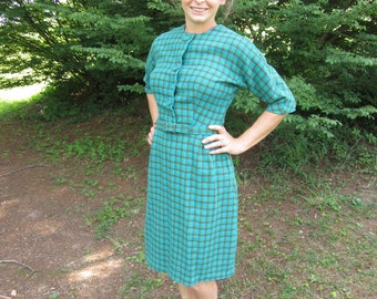 Vintage 1950's Green and Blue Plaid Wiggle Dress 50's Wool Winter Dress