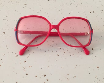 Red 80s Sunglasses 1980s Large Frame Glasses Retro Cool