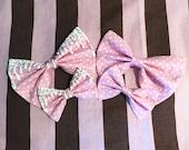 Kawaii Harajuku Fairy Pop Kei Pastel Goth Japanese Fashion Lolita Gyaru Decora Dolly Otome Pink Polkadot Hair Bow Tie
