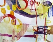 original watercolor painting art abstract landscape - 13.8x10.6 inch