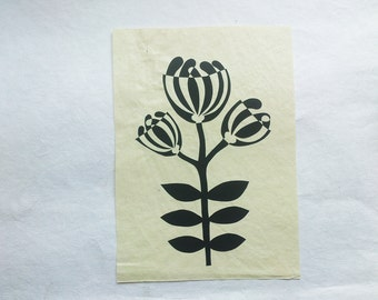 original paper collage inlay mosaic mid-century style flower art black and white - A4 size
