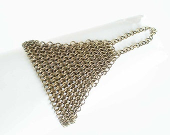 "Brass Chainmaille Finger Bracelet European 4 in 1 Chain Mail Antiqued Brass 7"" Chain Maille Mail Bracelet Hand Made"