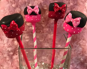 13-Chocolate Dipped Marshmallow Pops Minnie Mouse Mickey Mouse favors wedding birthday