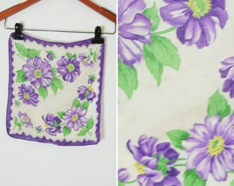 Clearance - Vintage 1950's Purple and White Cotton Handkerchief- cute floral ladies hanky