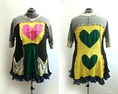 Upcycled Clothing Bohemian Tunic Sweater Top with Pockets Hearts Embroidered Fall Winter Recycled Plus Size 1x