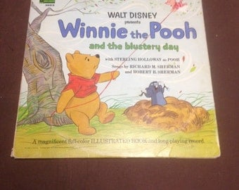 3953-1967 winnie the pooh and the blustery day includes a 12 page book/ vintage record album