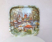 Vintage square tray of Paris France by Daher Decorated Ware of England 13.5""