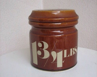 Classic vintage canister Aramis brown stoneware jar with lid 1 3/4 LBS