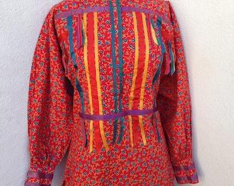 Vintage boho tunic top or micro mini dress floral cotton sz S ribbons by Aroboho