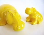 Vintage Jaru Yellow Hippos Pair