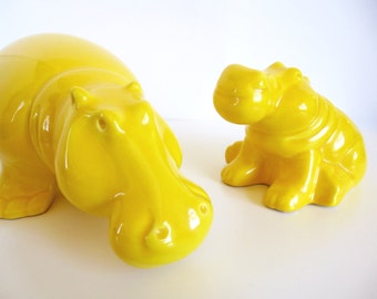 Vintage Jaru Yellow Hippos Pair