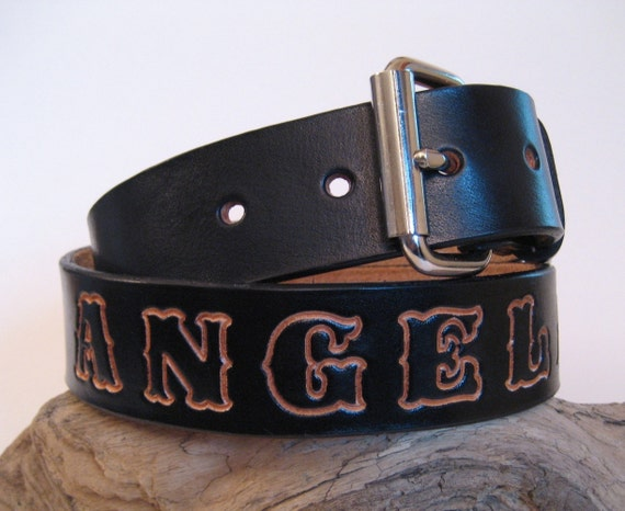 black leather belt personalized w your name by