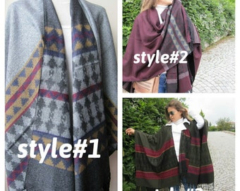 Oversize PONCHO shawl, gray mexican pattern flannel,blanket scarf-tribal trend 2016,wrap shawl scarf,women man fashion women's scarves 2012