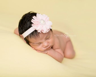 Baby Headband, Baby Pink Floral Headband- Pink Chiffon Flower with Rhinestone Pearl Center On Pink Elastic Baby Headband