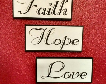 Set of 3 painted wooden signs.