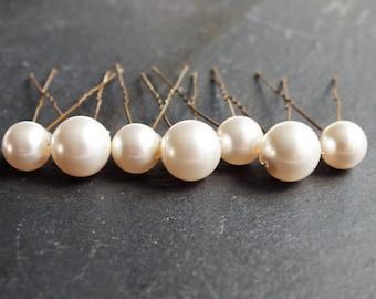 pearl hair pins, set of 7,  10mm and 8mm swarovski pearl hair pin, wedding hair, brides brides maid prom